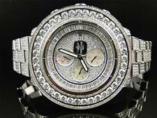 Mens 3 Row Breitling Super Avenger Aeromarine 55 MM Genuine Diamond Watch 35 Ct