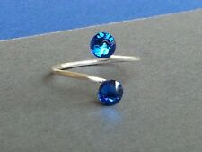 Silver Plated Adjustable Toe Ring with Capri Blue Swarovski Crystal Elements