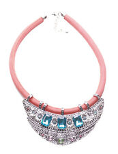 Layla Chrome Bib Triple Blue Gem Centre & Orange Chord Statement Necklace(Ns16)