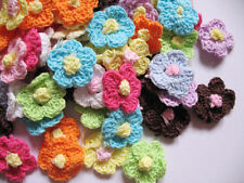 "100 Crochet 1"" Spring Flower Applique/trim/sewing-Mix C002"