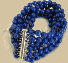 Pretty! 6 Rows 6mm Lapis lazuli White Gold Plated Clasp Bracelet 7.5 inch