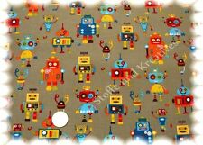 Feincord Robots hellbraun 50 cm Kinderstoff Cord Babycord Kord Kordstoff Roboter