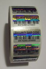 1000 Security BARCODE Hologram Tamper Evident Label Stickers Seals full release