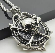 Heavy Large Stainless Steel Smooth Rope Chain Necklace Skull Round Pendant 194