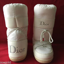 VINTAGE CHRISTIAN DIOR WHITE NYLON & LEATHER MOON APRES SKI SNOW BOOTS 38-40