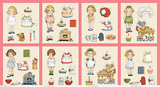 Bakery Paper Doll fabric 8-inch dolls PINK squares panel P4350 Penny Rose fabric