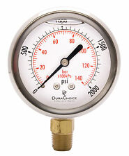 "2-1/2"" Oil Filled Pressure Gauge - SS/Br 1/4"" NPT Lower Mount 2000PSI"