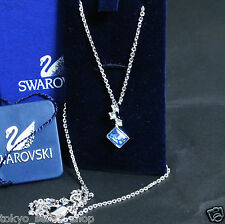 Authentic Swarovski Square Crystal Blue w/ stones Necklace Pendant Good! +box