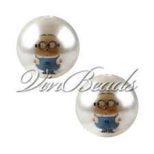 10pcs 20mm Pearl Beads with Minions Printed Acrylic Gumball Chunky Beads DIY