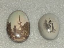 2 VINTAGE UNUSUAL PICTURES PHOTO IMAGES MADE ON STONES-SOUVENIR FROM RUSSIA/USSR