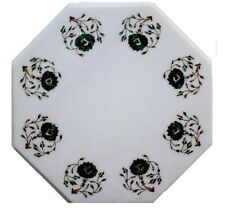 """12"""" White Marble Center Coffee Table Top Malachite Floral Inlay Living Home H631"""