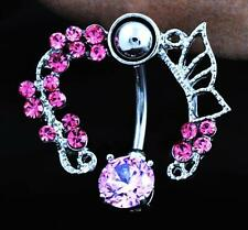 Charming Rhinestone Dangle Navel Belly Bar Button Ring Body Piercing Jewellery