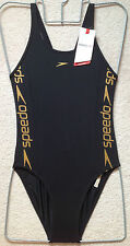 Speedo Endurance Swimsuit 30'' UK6-8 New with Tags in Black with Gold Text