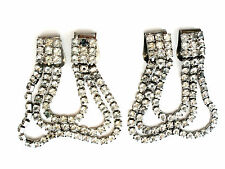 Clear Rhinestone Shoe Clips Silver tone Vintage Accessory Wedding Jewelry Silver
