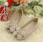 Stunning Girls Pink Ballet Formal Or Casual Shoe With Bow .. Pearls & Dimante's