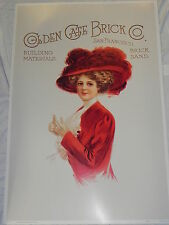 """Large 24""""x36"""" Print Poster Golden Gate Brick Co Victorian Woman Red Hat Society"""