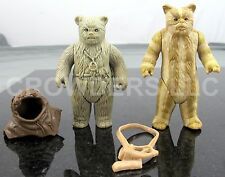 Vintage Star Wars 1983 Ewoks Chief Chirpa & Logray w/ Battle Horn Loose Figures