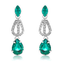 Oviya Rhodium Plated Silver Green Drops Earrings with Crystals ER4191026R
