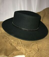 Vtg Mens Bushman Hat Green Crushable Australia Western Cowboy Poker Wool Felt
