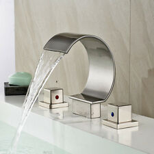 Widespread Waterfall Bathroom Basin Faucet Brushed Nickel Vanity Sink Mixer Tap