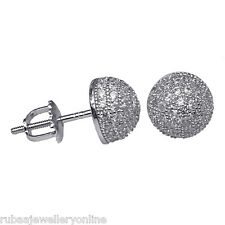 8mm MICRO PAVE SET CUBIC ZIRCONIA HALF BALL STERLING SILVER SCREW BACK EAR STUD
