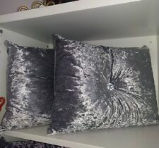 New steel grey crushed velvet cushion rectangle size with centre diamonte
