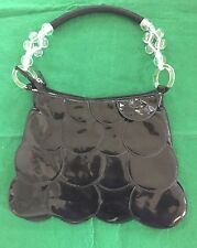 Vintage Black Patent Leather and Leather Fish Scale Evening bag by Square