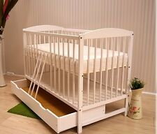 BABY Cot Bed With Drawer Wood White Walnut Mattress Converts to Junior Toddler