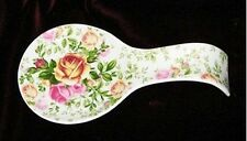 ROYAL ALBERT COUNTRY ROSE CHINTZ Spoon Rest Flowers Leaves Pinks White ~NIB~