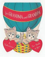 Vintage Greeting Card Valentine's Day Cat Kitten Die-Cut Norcross Hot Air Ballon