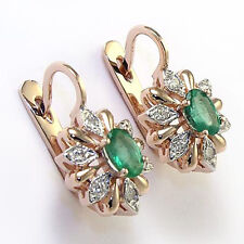 "Russian style 585"" rose gold diamond earrings with emerald G -VS2 (100%  clean)"