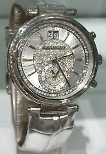 NWT MICHAEL KORS Sawyer Silver Leather Pave Crystal Dial 39mm Watch MK2443 $325