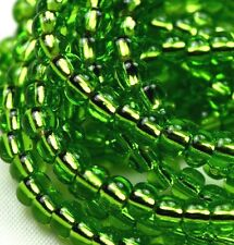 "Czech Glass Seed Beads Size 6/0 "" SILVER LINED LIGHT GREEN "" Strands"