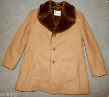 Vintage 60's Lakeland Wool Fur Collar Overcoat Coat Men's Size 46 USA Nice!!
