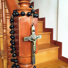 LARGE 20MM Black GOLD Obsidian Bead Wall Rosary Cross crucifix catholic GIFT BOX