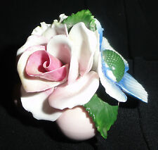 Petite English Flower Heart Basket, Pink Rose, Blue Anemone & Yellow Carnation