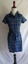 Sourpuss Clothing S Blue Green Retro Plaid Sailor Anchor Embroidered Shirt Dress
