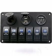 Lacaca 6 Gang Waterproof Car Auto Boat Marine LED Rocker Switch Panel Circuit