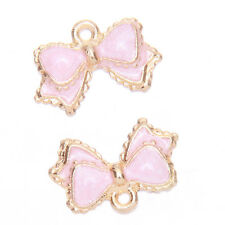 20x NEW Pink Enamel Gold Plated Alloy Bowknot Charms Pendants Fashion Jewelry D