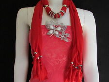 NEW WOMEN SOFT FABRIC RED FASHION SCARF LONG NECKLACE HUGE BUTTERFLY PENDANT