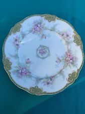 Theodore Haviland Limoges Luncheon Plate SCHLEIGER 1067 Green & Gold Band Floral