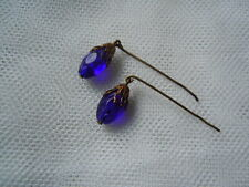 Antique French Doll Jewelry Cobalt Blue Oval Crystal Earrings Bisque Jumeau