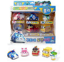 Robocar Poli Car Stamp 5 pcs Set Toy Free Wheel Characters Children Kids Gift