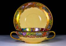 VINTAGE JAPANESE SATSUMA TWIN HANDLED CUP & SAUCER HAND PAINTED FLOWER