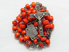 "† UNUSUAL c1800s ANTIQUE BURNT ORNAGE HAND BLOWN GLASS FRENCH ROSARY 16 1/4"" †"