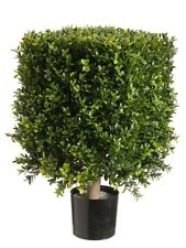 """21"""" Square Boxwood Artificial Topiary in Pot Tree plant Indoor Outdoor Patio 221"""