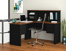 Bestar Somerville L-Shaped Office Desk with hutch in Black & Tuscany Brown