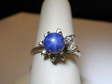 VINTAGE 14K white gold synthetic BLUE STAR Sapphire Ring 2 diamonds ESTATE Lindy