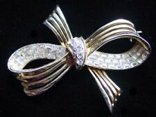 Vintage COROCRAFT Diamante' RHINESTONE BAGUETTE BOW Brooch/Pin~1952 Patent,fjt
