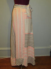 ACE & JIG WRAP SKIRT LONG COTTON BLEND TIE WAIST PATTERN SZ MEDIUM NWOT